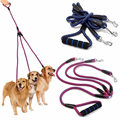 Hot Sale!! Nylon Alloy 3 Way No-Tangle Triple Coupler Dog Pet Walking Leash Puppy Lead Strong Braided Rope With Soft Dual Handle