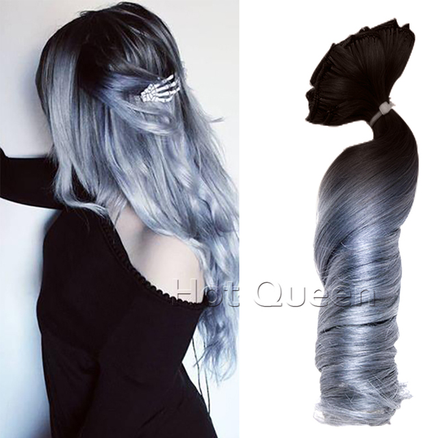 1b Grey Hair Black To Silver Ombre Balayage Brazilian Remy Clip In Human Extensions