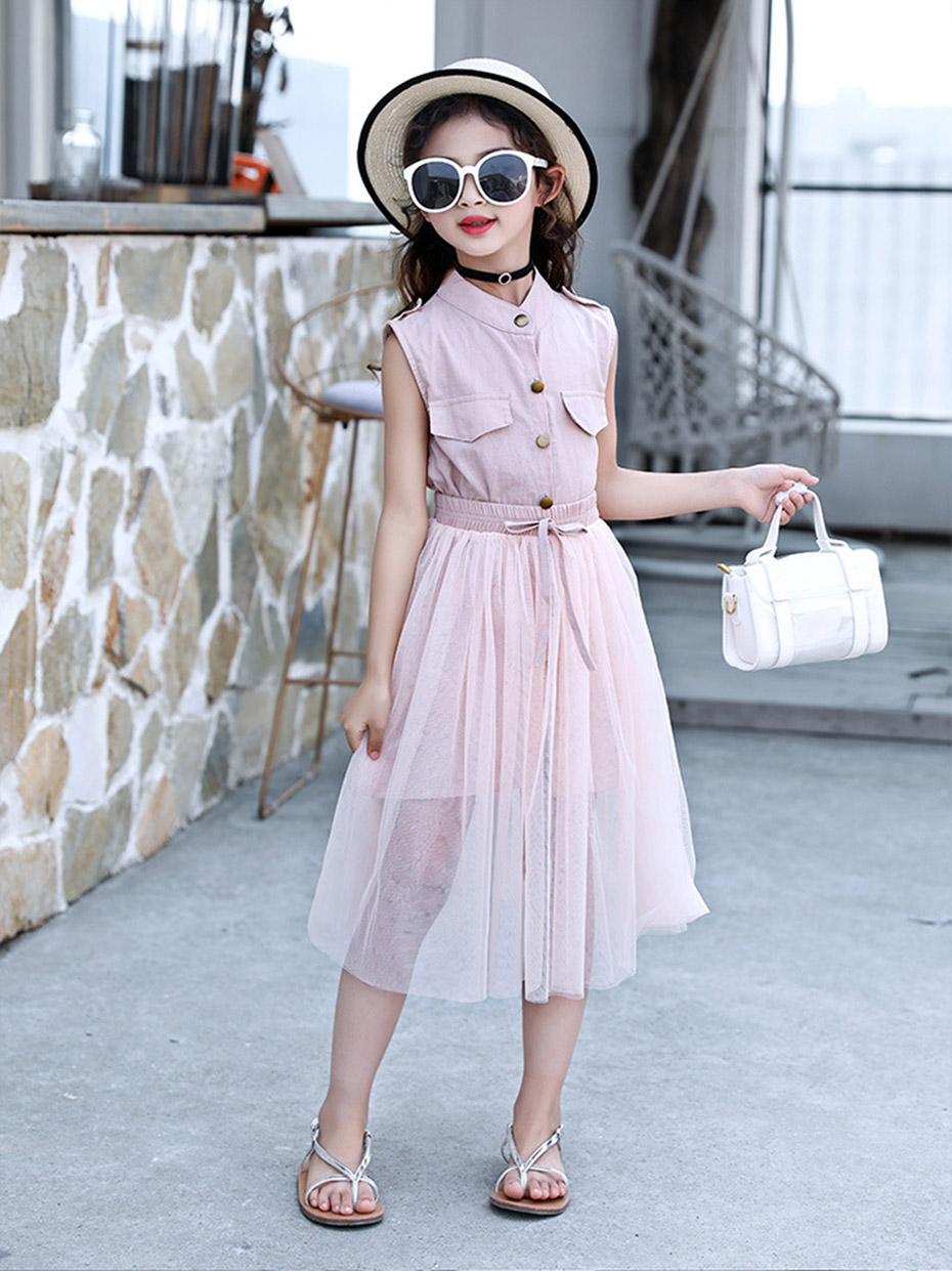 HTB1Ju3HUwHqK1RjSZFPq6AwapXaY - Kids Girls Clothes Set Solid Dress + Skirt 2PCS Girl Summer Clothes Casual Teen Clothes For Children 6 8 10 12 13 14 Year