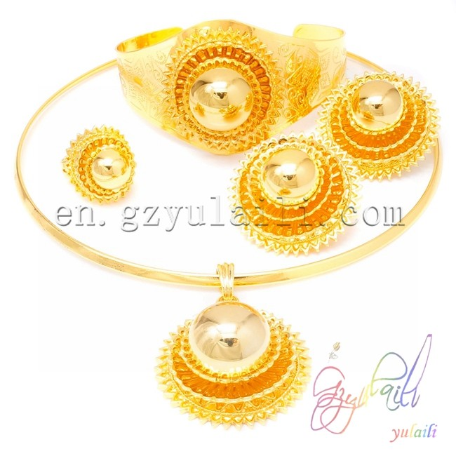 все цены на YULAILI Big Wedding Bride Jewelry Sets Pure Gold Color Necklace/Earring/Pendant/Bangle/Ring Ethiopian Habesha Jewelry Set