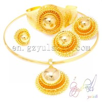 YULAILI Big Wedding Bride Jewelry Sets Pure Gold Color Necklace/Earring/Pendant/Bangle/Ring Ethiopian Habesha Jewelry Set