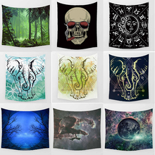 Hot sale fashion crazy skull skeleton elephant stars sky pattern wall hanging tapestry size 200*150cm and 150*130cm