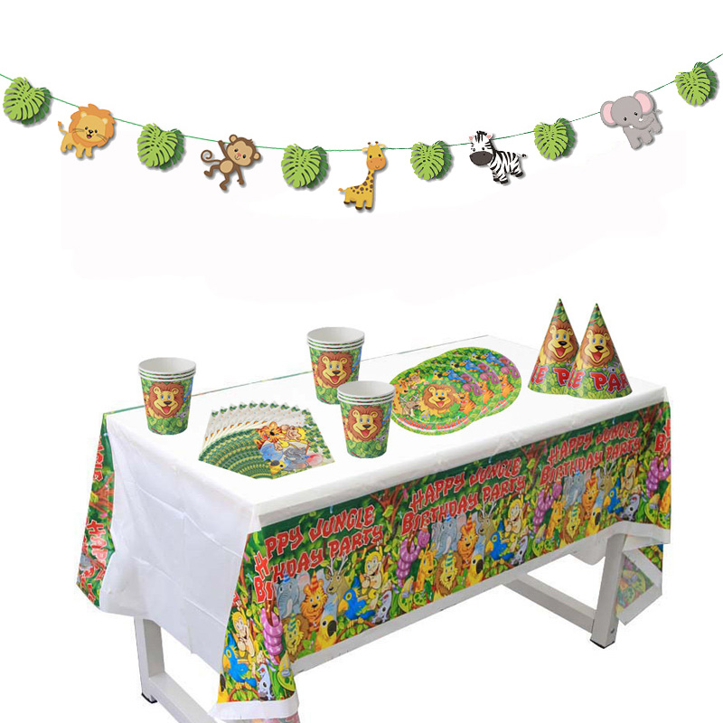 Detail Feedback Questions About Jungle Party Safari Theme Birthday Supplies Disposable Tableware Set Zoo Animals Boy 1st Baby Shower Decor On