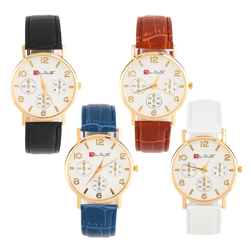 Women Men Round Golden Case White Dial Faux Leather Band Wrist Watch Time With White/Black/Blue/Brown Color Hot Selling