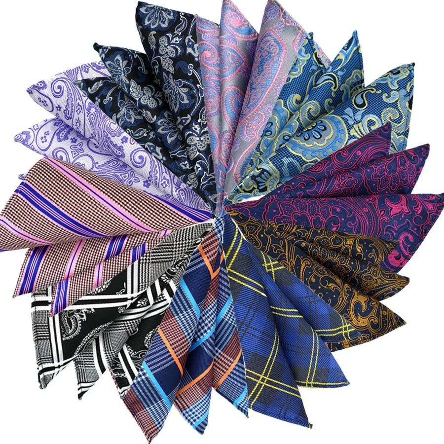 Luxury Mens Pocket Square 25CM Handkerchief Paisley Plaid Hanky Men Suit Chest Towel Accessories For Business Wedding Party Gift