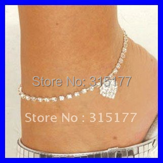 Free shipping 2012 Rhinestone Heart Anklets Rhinestone Jewelry Wholesale 30pcs/lot Costume Jewelry Holiday Gift 0620