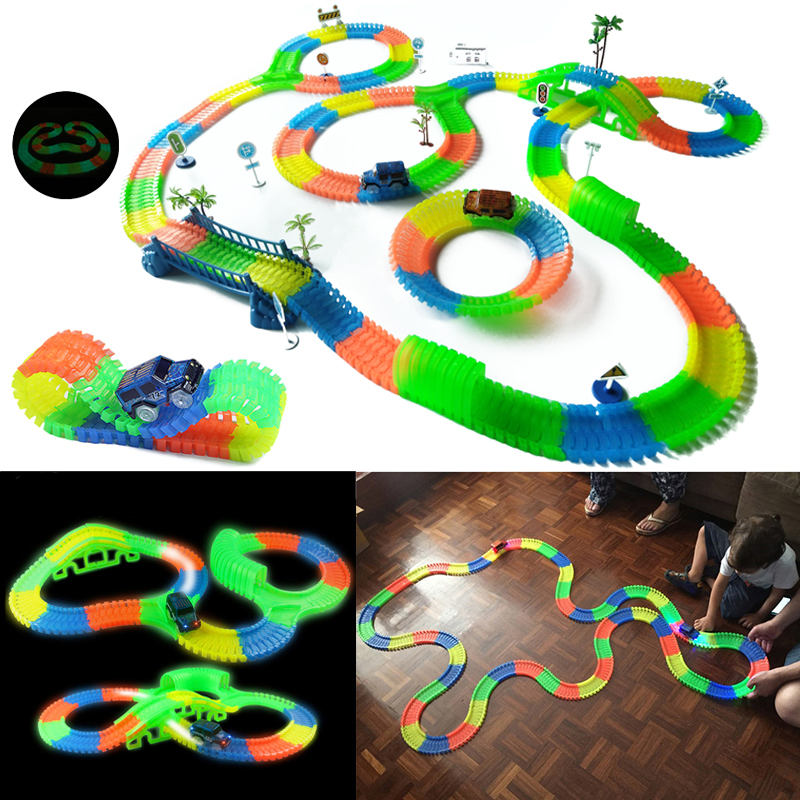 Railway Magical Glowing Flexible Track Car Toy Children Racing Speed Pipe Track Led Flashing Light Up DIY Toy Electronic Car