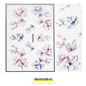 Image 3 - Fashion 3D Stickers Acrylic Engraved Flower Plant Nail Sticker Embossed Flower Nail Water Decals Empaistic Nail Slide Decals