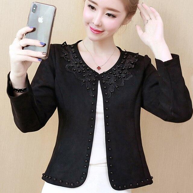 Fashion  3XL 4XL Black Women Jacket 2021 O Collar Coat Women Short Jacket Long Sleeve Womens Jackets And Coats A956 1