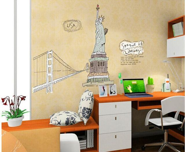 Free Shipping Statue of Liberty New York Giant Art Decals Removable ...