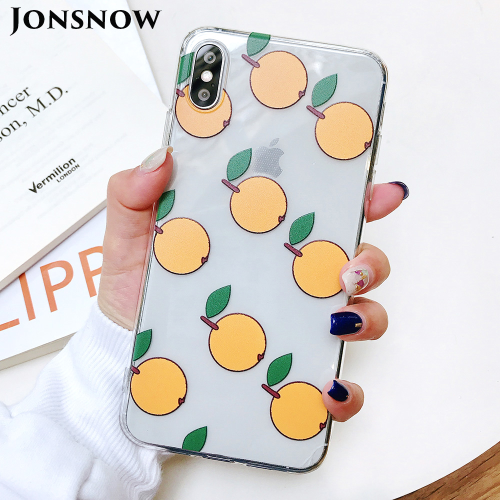 KIPX1084_1_JONSNOW Phone Case For iPhone XS Max XR XS 7 Plus 8 6 6S 6 Plus Fruit Oranges Pattern Clear Soft Silicone Back Cover Capa Fundas