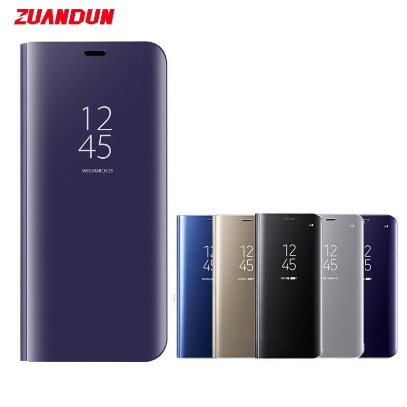 ZUANDUN Luxus Klar Spiegel Flip Fall Für Samsung Galaxy S9 S9 Plus Note 8 S8 S7 S7 Rand Intelligente Standplatz-leder-kasten-abdeckung