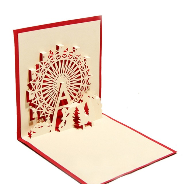 3D Handcrafted Origami Birthday Design Greeting Card Envelope Invitation Kirigami Anniversary Pop Up Wholesale