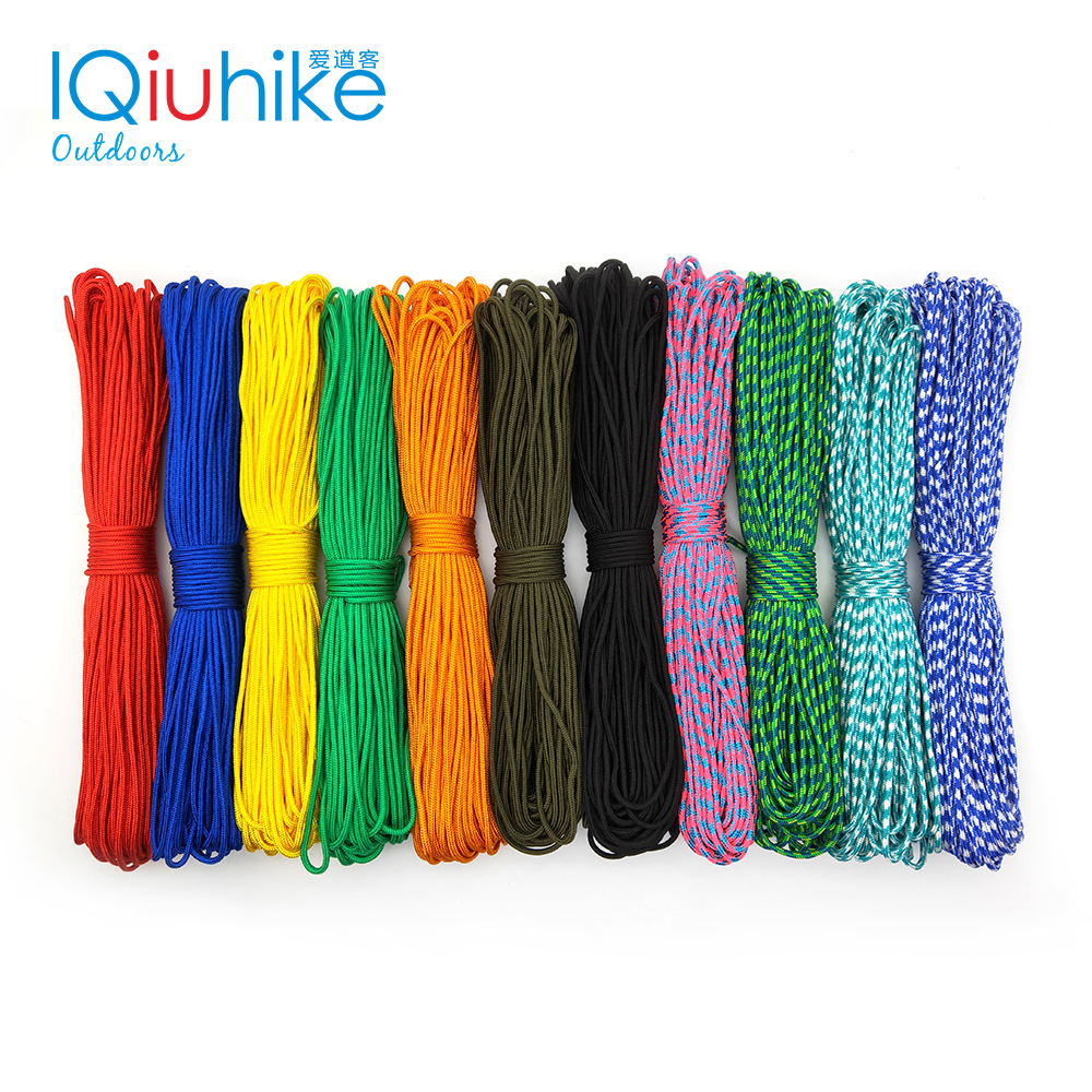 IQiuhike 50FT 100FT 15/31 Meters Dia 2mm one stand Cores for Survival Parachute Cord Lanyard Camping Climbing Rope