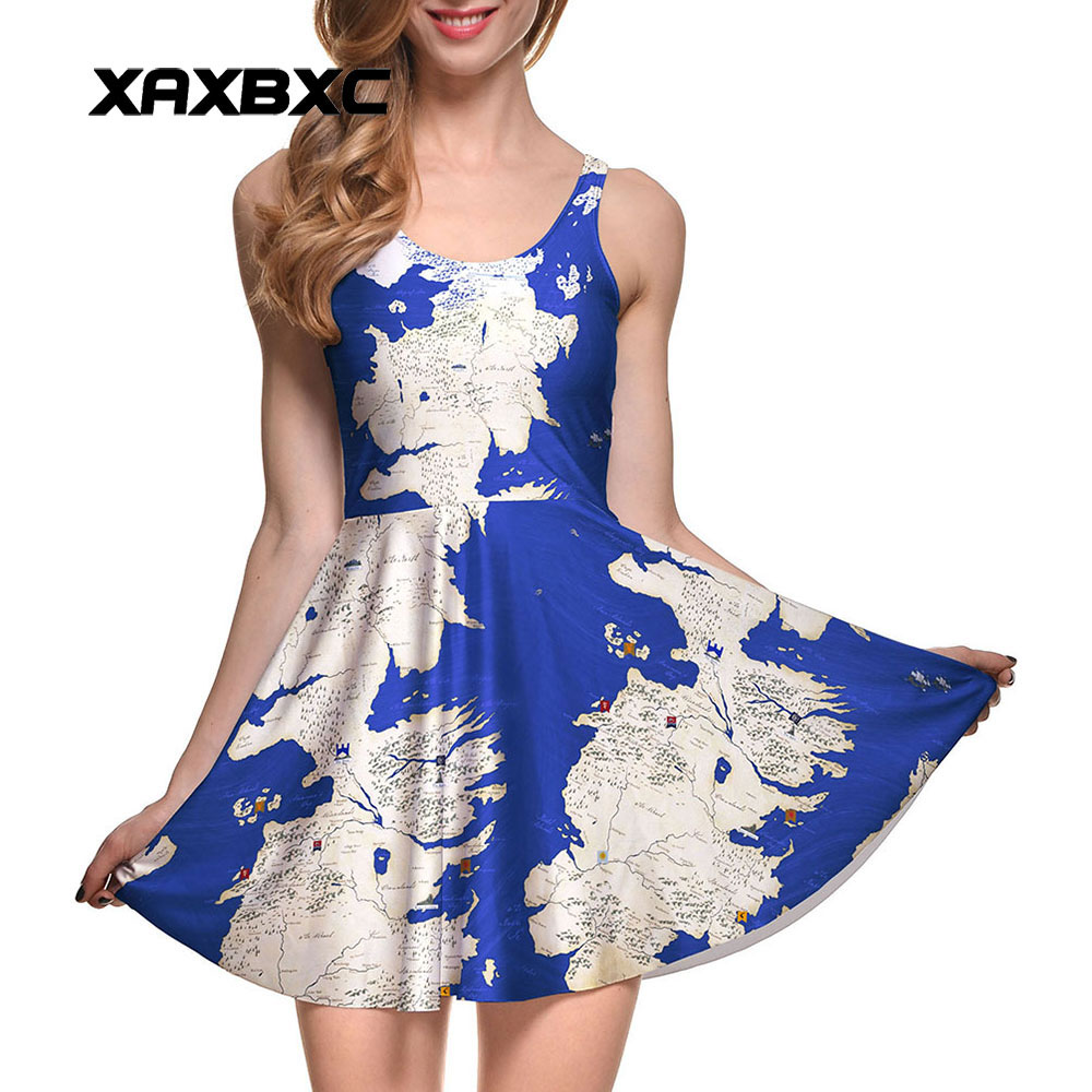 Xaxbxc New 1006 Summer Sexy Girl Dress World Map Ocean Land Earth Prints Reversible -4420