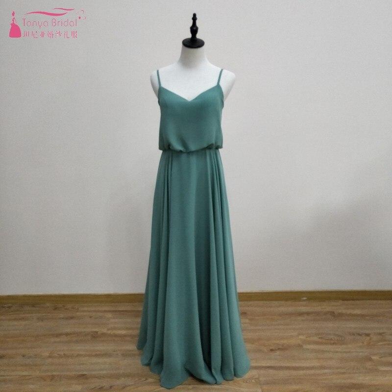684e2cfca59 Sage Green Ins Long Bridesmaid Dresses Simple Chiffon A Line Formal Wedding  Guest Dress For Party Women Dress Gown JQ54