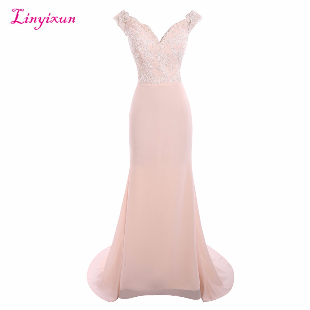 Linyixun Real Photo Sexy 2017   Bridesmaid     Dresses   Mermaid Off Shoulder Lace Appliques Sweep Train Long Maid of Honor   Dresses