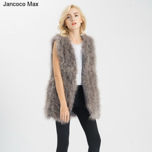 S11007 Real fur gilet Or Genuine ostrich Turkey Feather fur Long Vest Women New Fashion Jacket