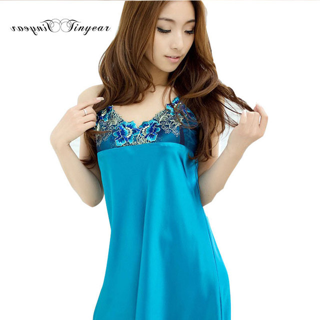fd2a979f7 New fashion women halter intimo donna sexy hot lingerie silk nightgown  large size embroidery lace breathable