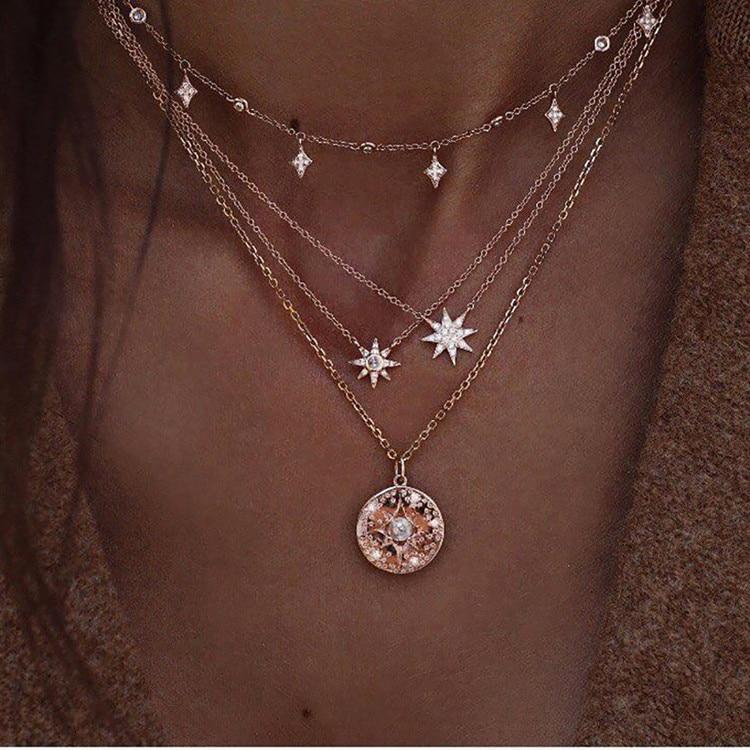 Богемное многослойное ожерелье с кулоном из кристаллов для женщин, золотые модные многослойные ожерелья и кулоны, ювелирные изделия - Окраска металла: NE-0205-9
