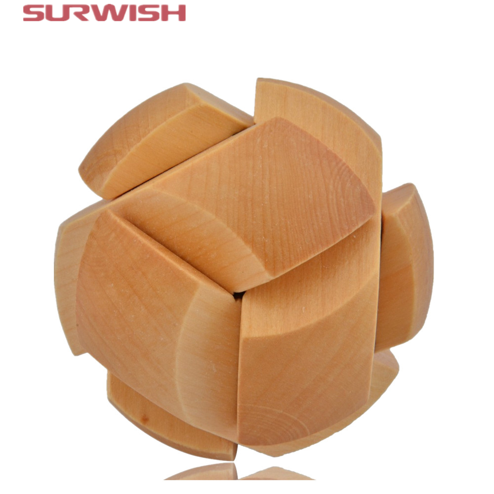 Surwish Puzzle Brain Training Toy Football Shape Wooden Puzzle Cube/Educational Toy Kong Ming/Luban Lock for Adult Children antique double brass bathroom shelf with green stone towel holder bathroom shelf with hooks basket for bathroom holder ssl s49