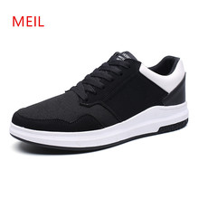 Mens Sneakers Casual Mesh Leather Shoes Men for summer 2018 Black Students Trainers Breathable Boat