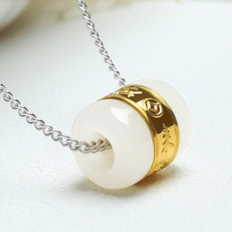 Drop Shipping Hetian Jade Transfer Beads Pendant Gold Jade LuLuTong Necklace Lucky Amulet Lovers Jewelry For Men Women Gift in Pendants from Jewelry Accessories