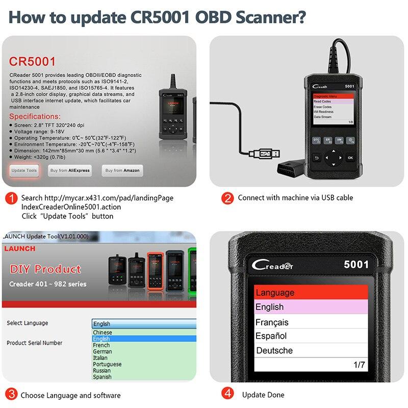 Image 5 - Старт X431 OBD2 сканер CR5001 автомобильный диагностический инструмент читать и четкий Код двигателя анализировать проверить Автомобильный сканер для Toyota много машин on AliExpress - 11.11_Double 11_Singles' Day