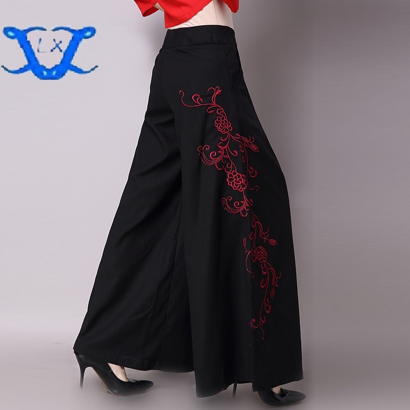 2018New Spring Cotton Linen Embroidery Wed   Leg     Pants   Embroidered   Pants   Retro Charm   Wide     Leg     Pants   Women Long   Pants