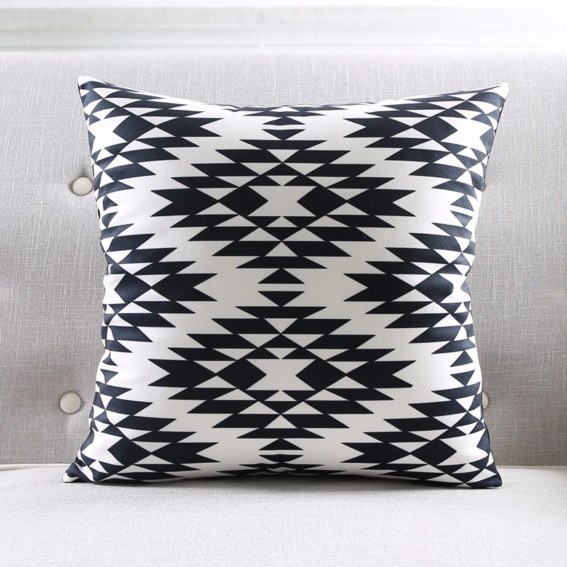 Modern Black And White Kids Cushion Covers Geometric Triangles Stripes Rug Pattern Pillow Cover World Map Velvet Pillow Case 11