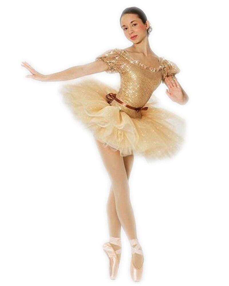 Adult Women Ballet Dancer Gold Sequins Children Latin Dance Dress New Year Old Dress Princess Skirt Professional Ballet Tutus