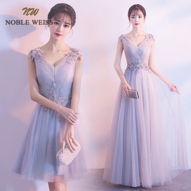 NOBLE WEISS Elegant Gray V-Neck Evening   Dress   Pleat   Prom   Gowns Formal Evening Gown Illusion Tulle   Prom     Dress   Free Shipping