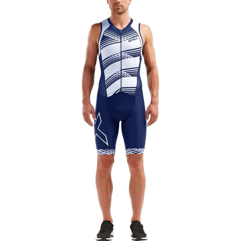 Мужской компрессионный стартовый костюм для триатлона без рукавов 2XU серия Compression (размер M, цвет Синий/Белый) свитшот мужской oodji lab цвет темно синий синий 5l113110m 47498n 7975e размер m 50
