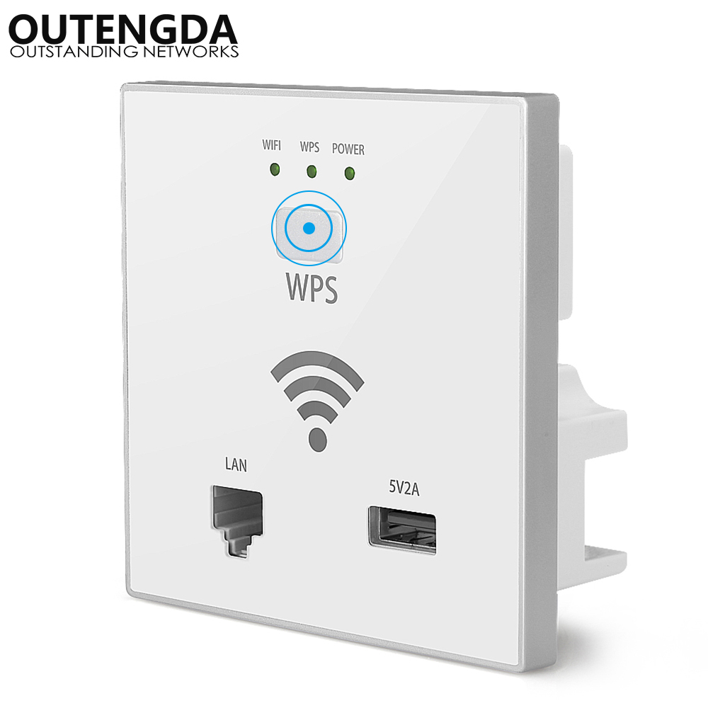 300Mbps In Wall AP WiFi Access Point Wireless Socket For Hotel Wi-Fi Project Support AC Management & RJ45 USB WPS Encryption