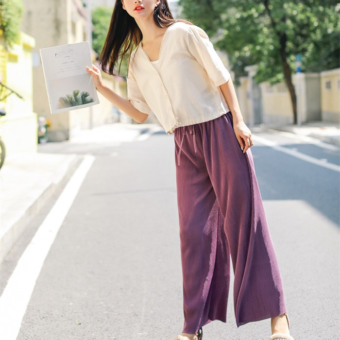 2019 Women Solid Lace Up Pleated   Wide     Leg     Pants   Sweet High Waist Casual   Pants   Female Loose Long Trousers