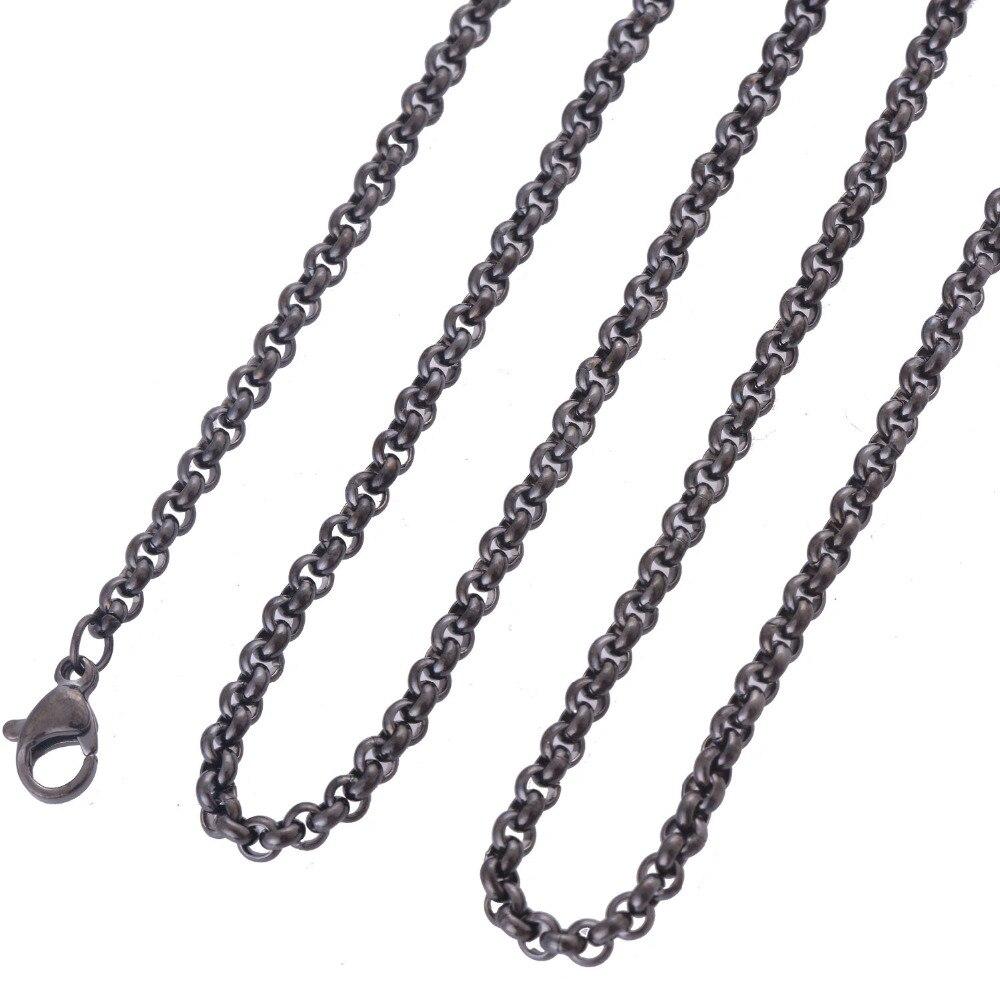 ̀ •́ 16-34 pulgadas longitud 3mm ancho acero inoxidable negro ...