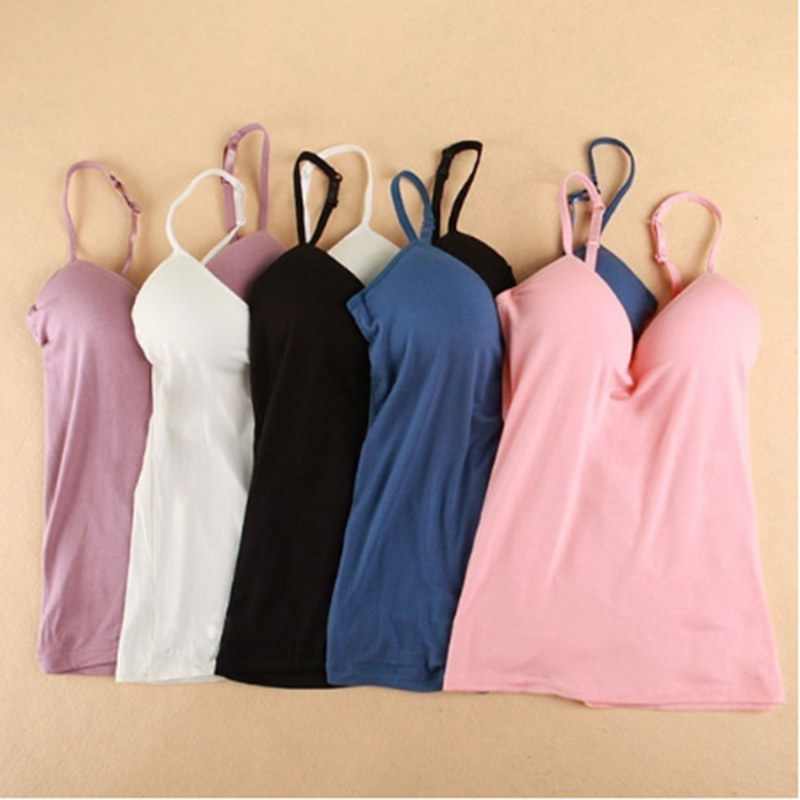 New Summer Women Tank Tops Sexy V-Neck Padded Tanks Tops Strap Camisole Vest Solid Sexy Women Tops NQ803881
