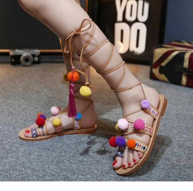 Bohemian Pompon Gladiator Sandals – Free Shipping! HTB1Ju6PKpXXXXX3aXXXq6xXFXXXC