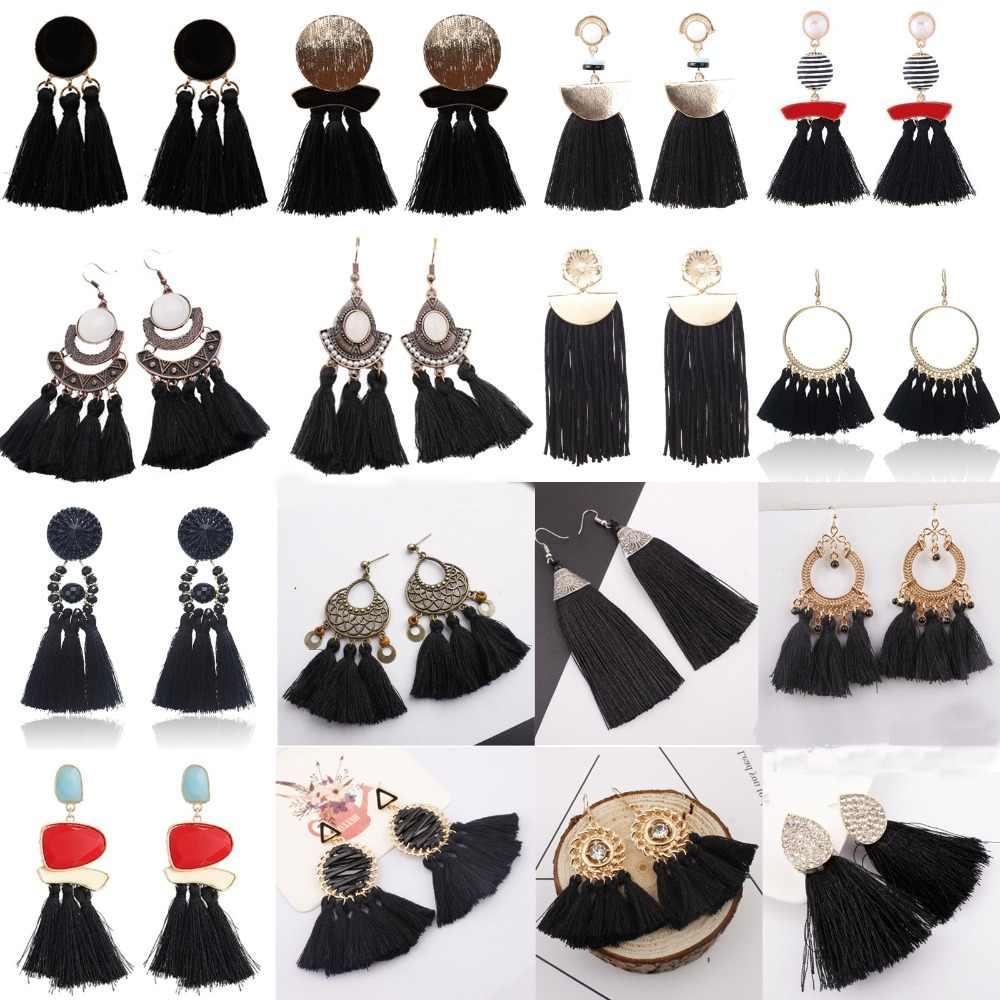 SexeMara Bohemian Long Statement Tassel Drop Earrings Luxury Resin Beads Tassel Earrings Women 27 Style Choice Dangle Earrings