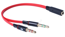 1 PCS 3.5 Mm Headphone Splitter Audio Line Earphone Accessories Female-male with Microphone Jack 19cm Red Color