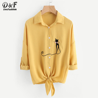 Dotfashion Drop Shoulder Cat Embroidered Knotted Hem Shirt Long Sleeve Blouse 2017 Woman Yellow Lapel Button