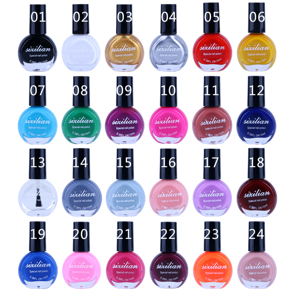 10ml/Bottle 24 Colors Paint For Stamping Nail Art Nail Polish Printing Nail Polish Varnish Nail Stamping Polish Stamp Polish