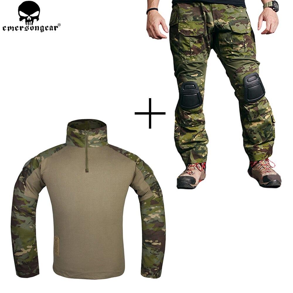 EMERSONGEAR Uniforme de Combat De Chasse Chemise Pantalon Tactique avec Genouillères Multicam Tropique emerson Gen 3 Pantalons de Chasse