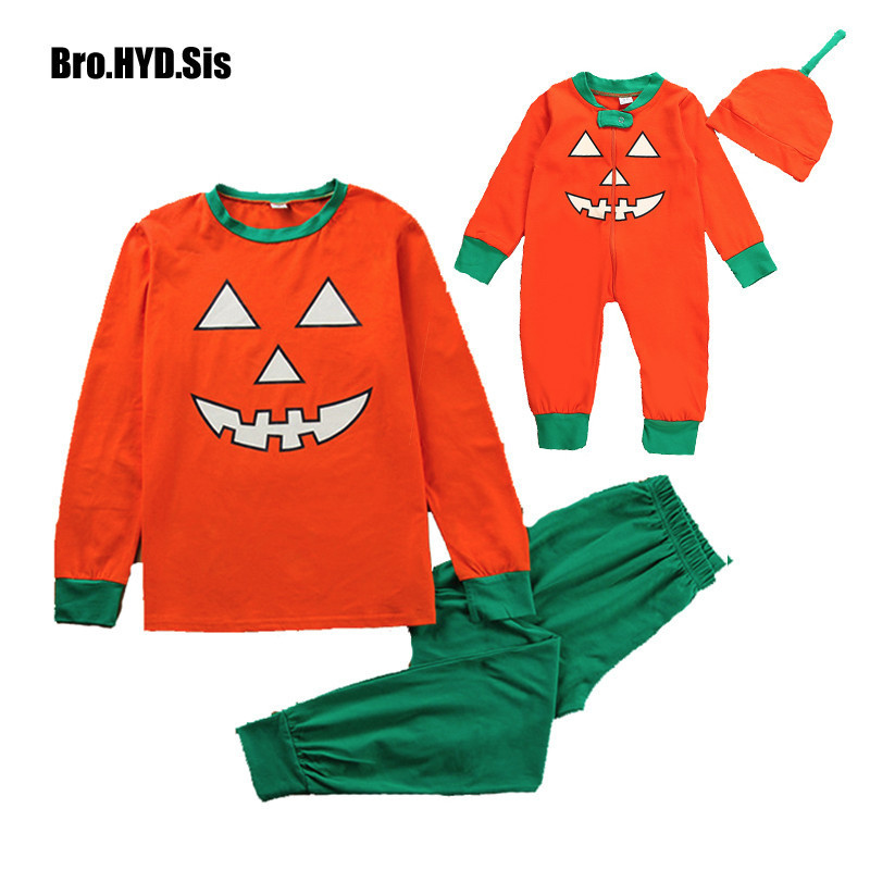 2018 Halloween Household Matching Pajamas Units Grownup Child Pumpkin Outfit Pjs Sleepwear Child Rompers Tops Pants Matching Garments Matching Household Outfits, Low-cost Matching Household Outfits, 2018 Halloween Household Matching...