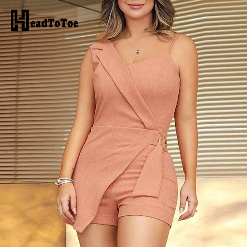O-Ring Design Fake Two Piece Romper Women Sexy Sleeveless Spaghetti Strap Playsuits Office Lady Casual   Jumpsuits   Workwear