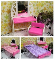 Wholesale Dolls Furniture Set Chair Dressing Table Bed Sheet Pillow 5Pcs Set For Barbies Girls Birthday