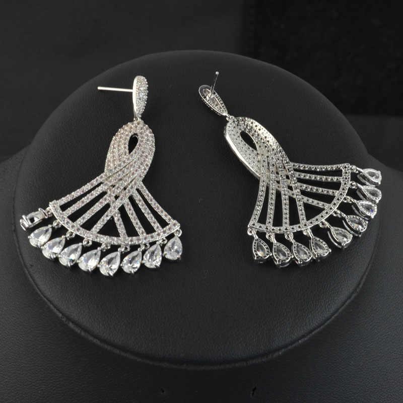 Micro réglage blanc/rouge/vert robe forme luxe zircon dangle boucles d'oreilles pour les femmes, haute qualité fête/mariage mode bijoux