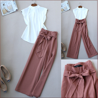 Fashionable OL Women Stand Collar Chiffon Top and Wide Leg Pants Office Wear Clothing Set Summer Set