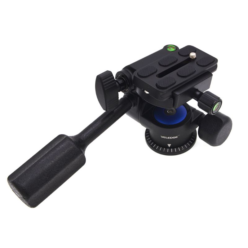 "Tripod Fluid Drag Pan Head Handle 3-Ways Panning Ball 360 Panoramic Head 1-4"" Plate 3/8"" Screw Thread Monopod Slider DSLR Camera"