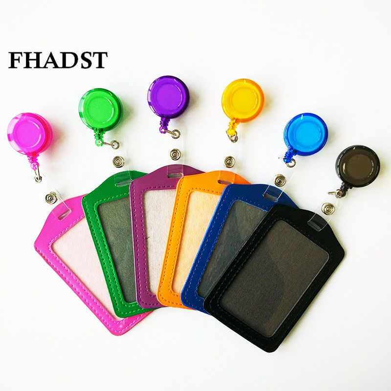 FHADST No Zipper Cheap Bank Credit Card Holders Bus ID Holders Identity Red Yellow Blue Badge With Retractable Reel Wholesale